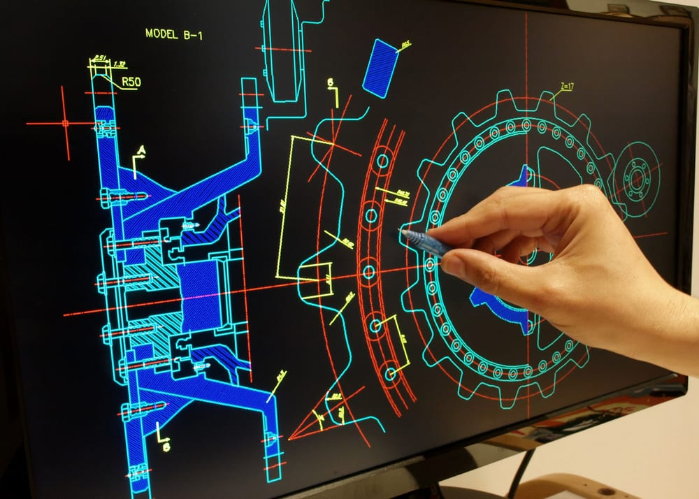 CAD design on a computer screen