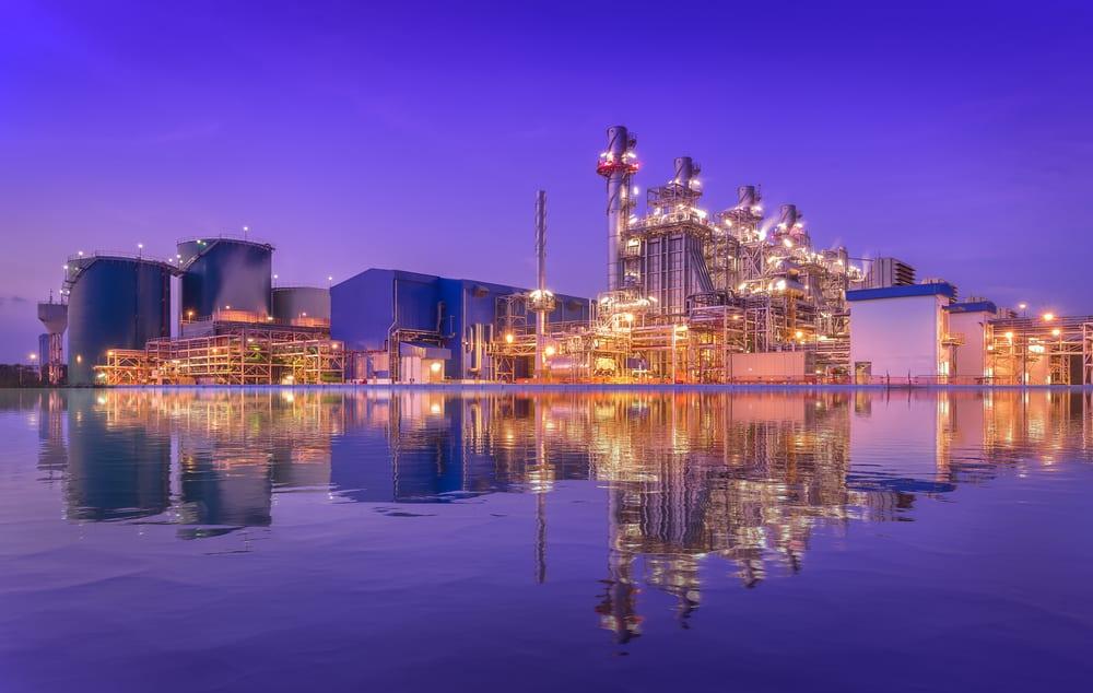 power plant at twilight